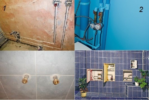Трубы, соединения и приборы в ванной комнате