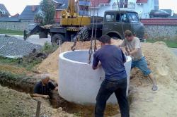 Установка бетонного смотрового колодца