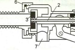 Схема устройства поплавкового клапана: 1 — ось поплавкового рычага; 2 — полый поршень; 3 — прокладка; 4 — стабилизирующая камера; 5 — фиксирующий колпачок; 6 — фиксирующая гайка; 7— патрубок