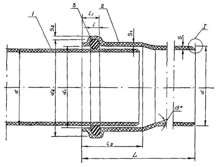 Раструбное соединение канализационных труб из ПВХ, уплотняемое резиновым кольцом круглого сечения