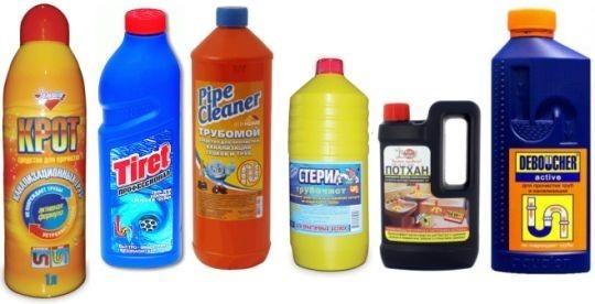 Для устранения засоров существует множество химических средств. Какой выбрать решает потребитель, основываясь на своих соображениях.