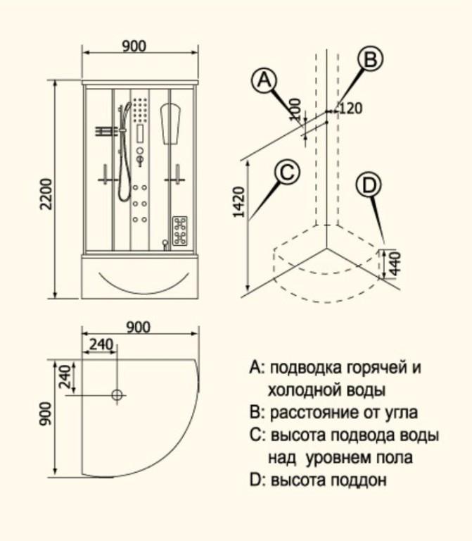 Схема душевой кабины с