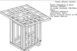 Схема каркаса дворового туалета