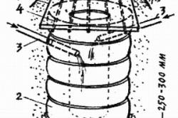 Схема очистного колодца из покрышек