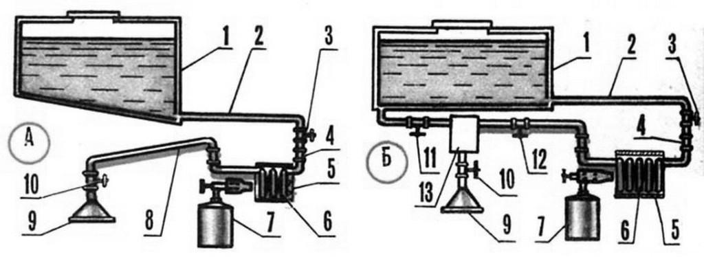 Схема водонагревателя на основе паяльной лампы