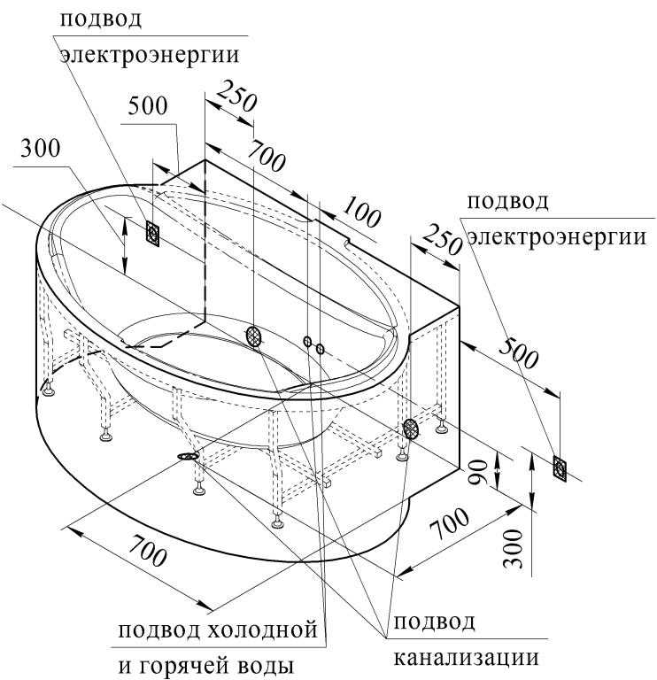 Схема установки гидромассажной