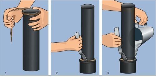 Этапы герметизации канализационной трубы асбестоцементной смесью