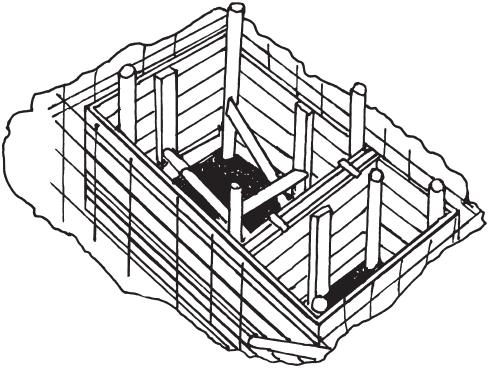 Собранная опалубка для бетонирования септика
