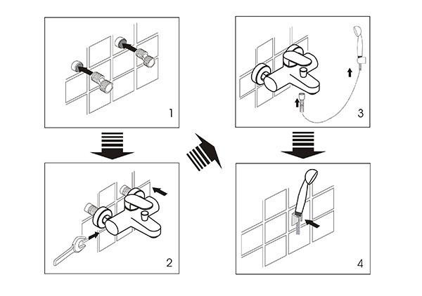 Схема монтажа смесителей