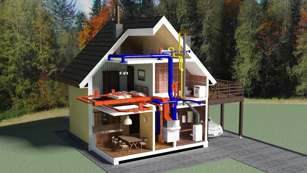 Схема канализации принудительного типа частного дома