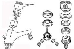 Схема кранов с наличием картриджа