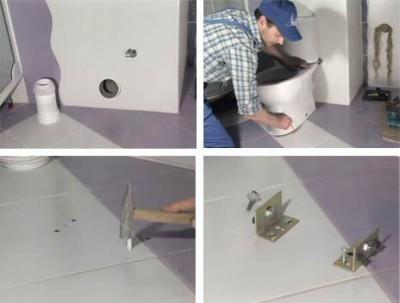 Краткая фото инструкция установки напольного унитаза на шурупах и дюбелях