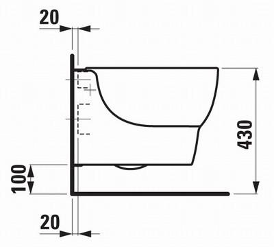 Схема расположения чаши унитаза