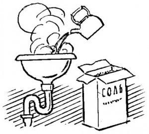 Устранение засора с помощью кипятка и соли